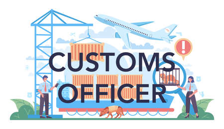 Customs officer typographic header. Passport control at the airport.