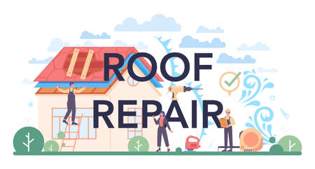 Roof repair typographic header. Building fixing and house renovation.