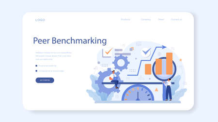 Benchmarking web banner or landing page. Idea of business