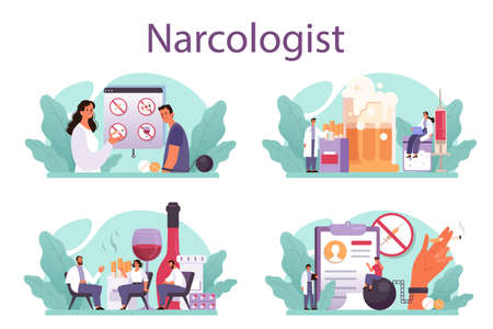 Narcologist concept set. Professional medical specialist. Drug and tobacco
