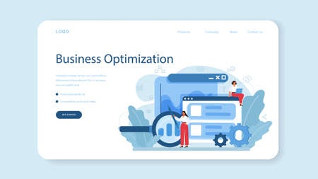 Process optimization web banner or landing page. Idea of business