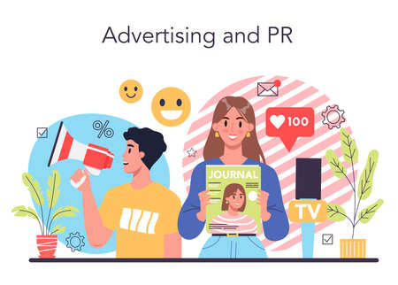 Advertsing and PR concept. Commercial advertisement and communication