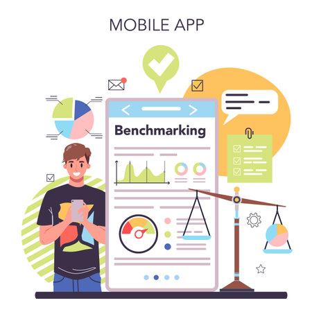 Benchmarking online service or platform. Idea of business development