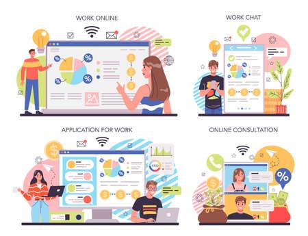 Business diversification online service or platform set. Risk management Vektorové ilustrace