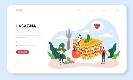 Tasty lasagna web banner or landing page. Italian delicious cuisine