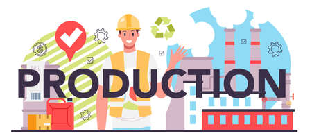 Production typographic header. Entrepreneurship organization. Idea of business
