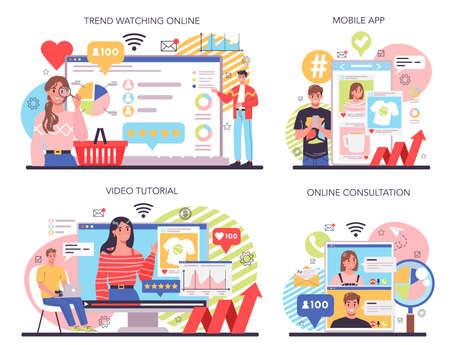 Trend watcher online service or platform set. Specialist in tracking