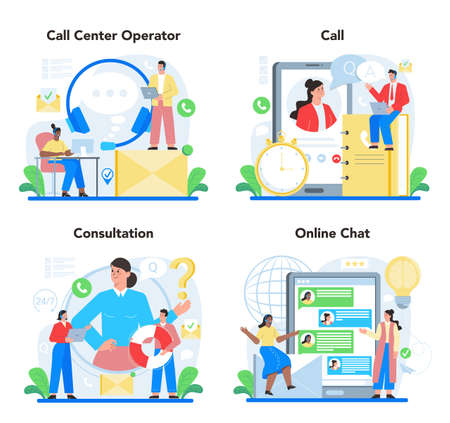 Call center or technical support concept set. Idea of customer service.