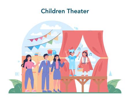 Drama class concept. Children creative subject, school play. Kid studying