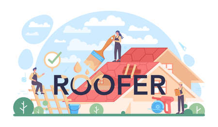Roofer typographic header. Building fixing and house renovation.