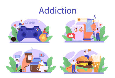 Addiction concept set. Idea of medical treatment for addicted people.