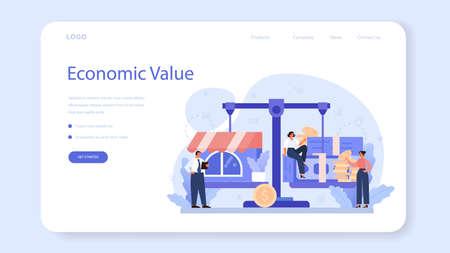 Business valuation web banner or landing page. Appraisal services, Vektoros illusztráció
