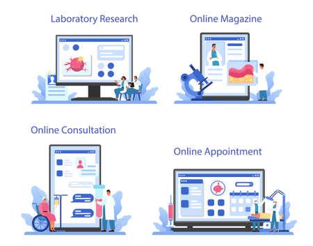 Professional oncologist online service or platform set. Cancer disease