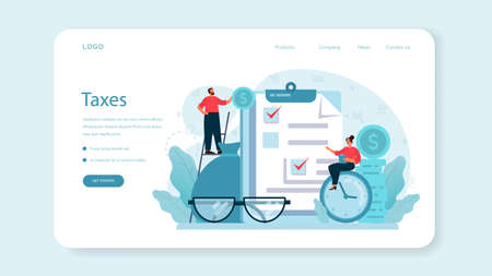 Taxes payment web banner or landing page. Idea of business accounting Vettoriali