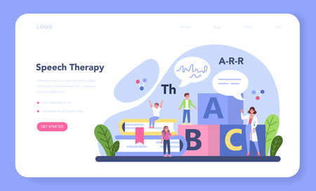 Speech therapist web banner or landing page. Didactic correction Vettoriali
