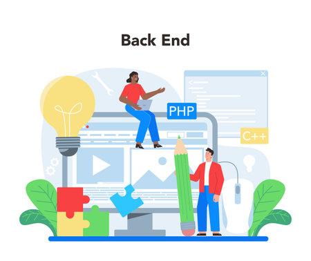 Back end development concept. Software development process Vector Illustratie