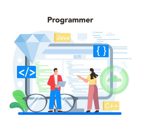 Programmer concept. Idea of coding, testing and writing program