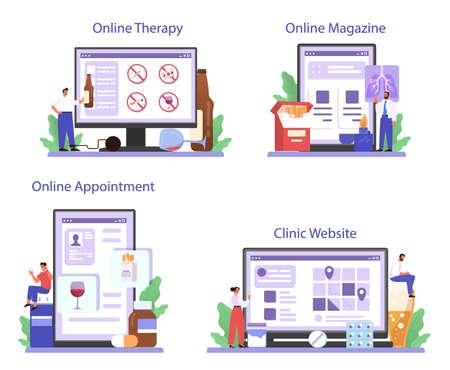 Addiction online service or platform set. Medical treatment for addicted people