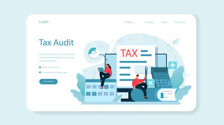 Taxes payment web banner or landing page. Idea of business accounting