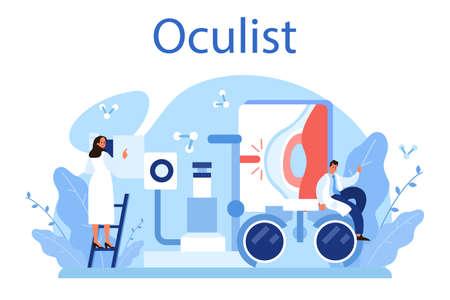Oculist concept. Idea of eye exam and treatment. Eyesight diagnosis