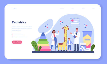 Pediatrician web banner or landing page. Doctor examining a child
