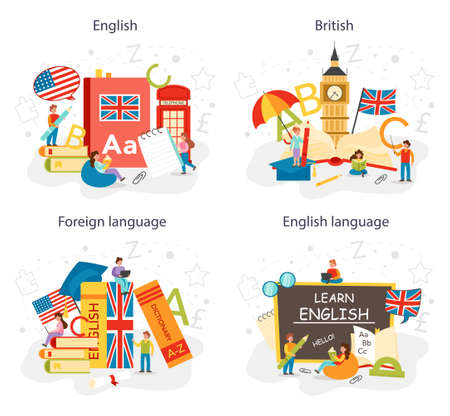 English class concept set. Study foreign languages in school or university