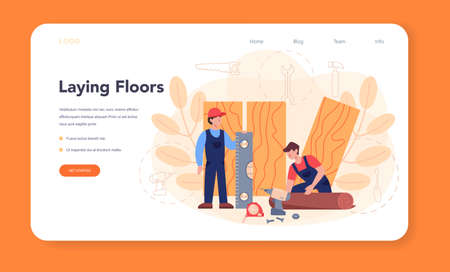 Flooring installer web banner or landing page. Professional parquet laying