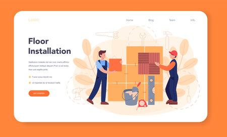 Flooring installer web banner or landing page. Professional parquet laying Векторная Иллюстрация