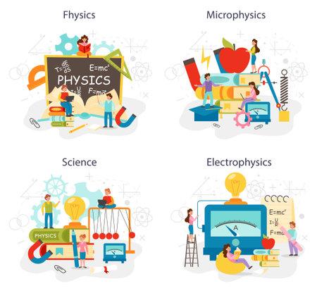 Physics school subject concept set. Scientist explore electricity