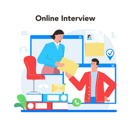 Online job interview concept. Idea of employment and hiring procedure. Vektorgrafik