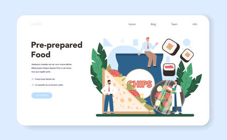 Semi-processed goods production web banner or landing page