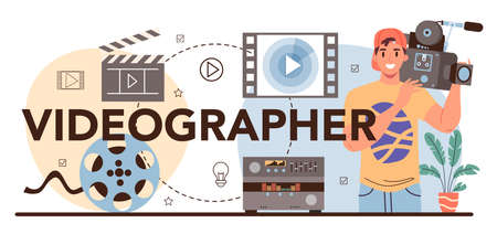 Videographer typographic header. Video production, filming and editing.