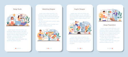 Designer mobile application banner set. Advert designer or graphic illustrator