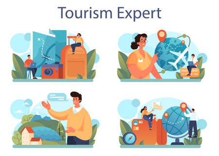Tourism expert concept set. Travel agent selling tour, cruise, airway or railway