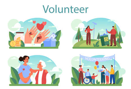 Volunteer concept set. Charity community support old and disabled people,