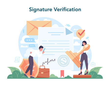 Notary service concept. Professional lawyer signing and legalizing paper Vektorové ilustrace