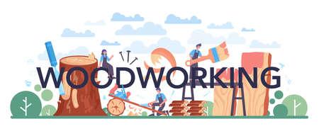 Woodworking typographic header. Carpenter processing wood-block. Builder working