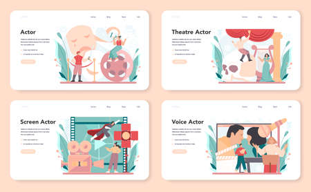 Actor and actress web banner or landing page set. Theatrical performer