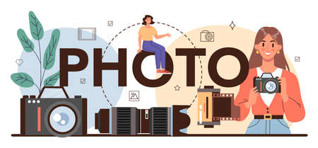 Photo typographic header. Professional photographer with camera