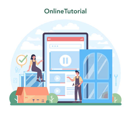 Installer online service or platform. Worker in uniform installing window Vector Illustration