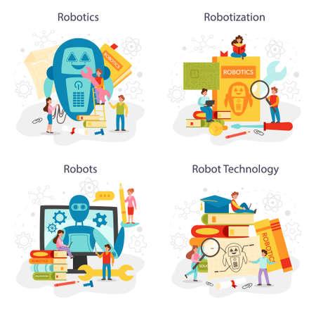 Robotics school subject concept set. Robot engineering and programming