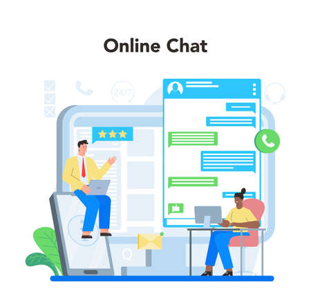 Online consulting chat. Research and recommendation. Sales strategy Vetores