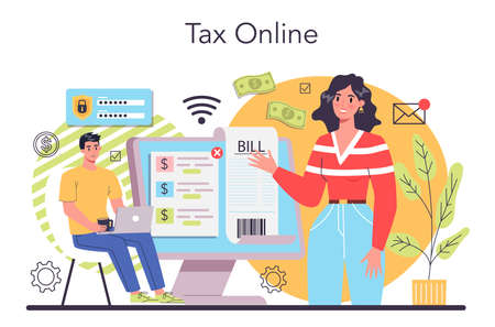 Online taxes payment concept. Idea of business accounting and audit Vettoriali