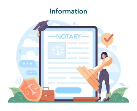 Notary service online service or platform. Professional lawyer signing