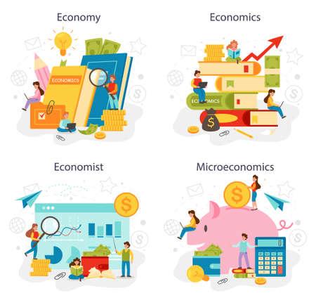 Economy school subject concept set. Student studying economics
