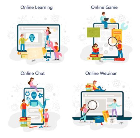 Robotics school subject online service or platform set. Robot engineering Vektorgrafik