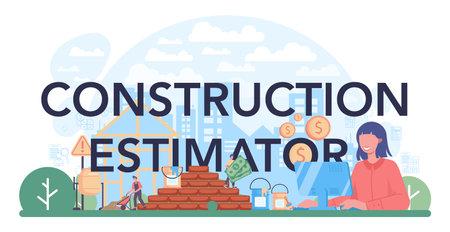 Construction estimator typographic header. Appraisal services, property Vektoros illusztráció