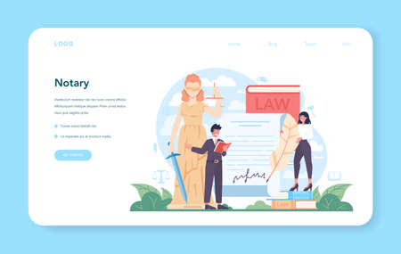 Notary service web banner or landing page. Professional lawyer signing