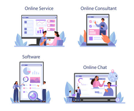 Consulting online service or platform set. Research and recommendation. Vetores