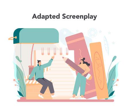 Screenwriter concept. Person create a screenplay for movie.